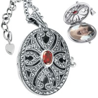 PT276   Marcasite and Garnet Oval Locket on Chain Sterling Silver Ari D Norman